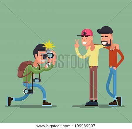 Photographer shooting people