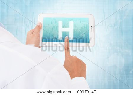 Doctor hand touch screen Hospital symbol on a tablet. medical icon