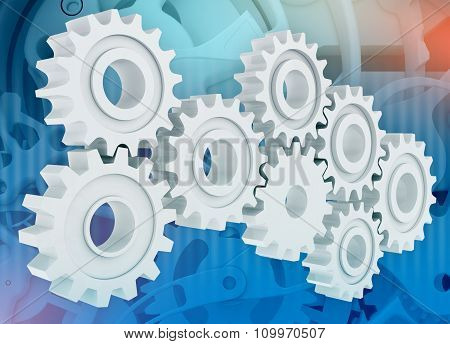 Group gears on abstract background clock mechanism