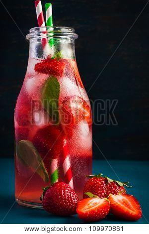 Delicious Refreshing Drink With Fresh Strawberry And Basil