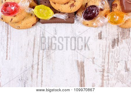 Colorful Candies And Cookies, Copy Space For Text, Too Many Sweets