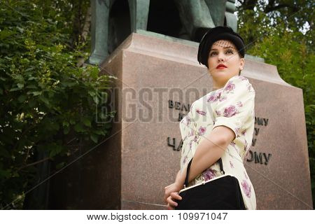 Very Beautiful Soviet Girl In Retro Style Is On The Moscow Street