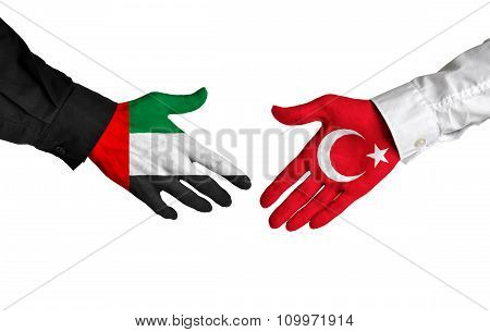 United Arab Emirates and Turkey leaders shaking hands on a deal agreement