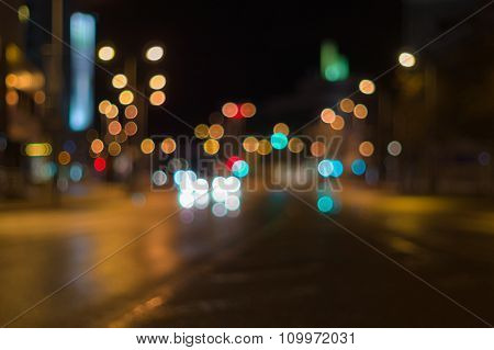 City Traffic Night Blurred Background With Bokeh Lights