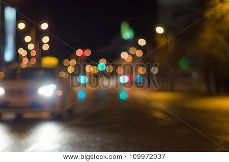 Car Driving By Blurred Image, City Road Night Lights On Background