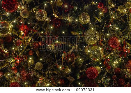 Decorated And Illuminated Christmas And New Year Background
