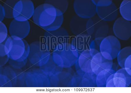 Abstract Background Of Blue Bokeh Lights Layered One Another