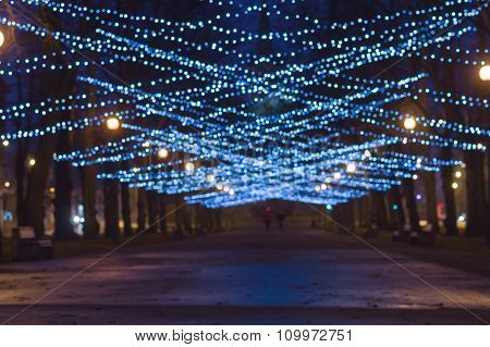 Blurred Image Of New Year And Christmas Lighting Decoration Of City Boulevard