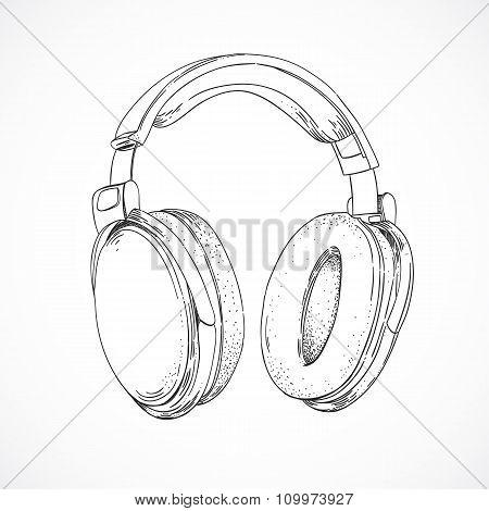 Hand sketched headphones. Listening to music through headphones. Vector illustration