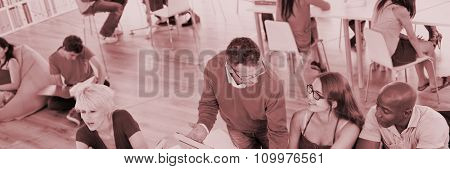 People Studying Discussion Meeting Education University Concept
