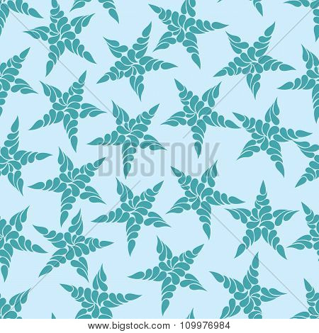 Seamless Pattern Of Blue Stars Against A Light Background
