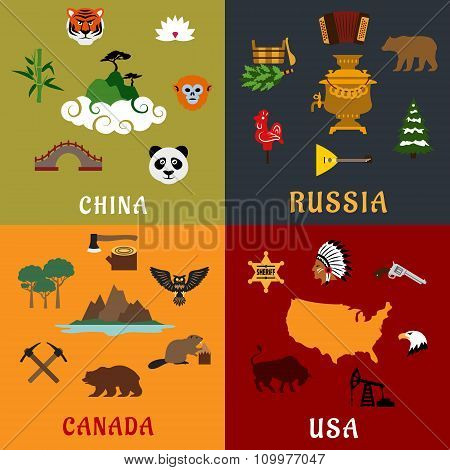 USA, China, Russia and Canada flat travel icons