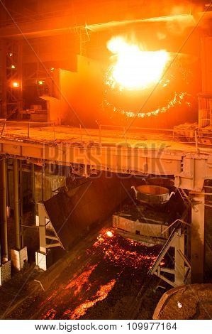 A Converting  Furnace In Steel Production