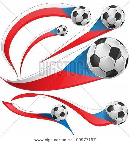 Czech Republic Flag  Set With Soccer Ball