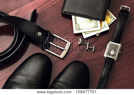 men gentleman's set of accessories. Watch, wallet, shoes, dollars