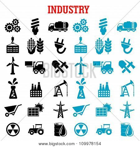 Industrial and energy flat icons set