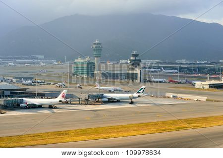 HONG KONG - NOVEMBER 16, 2015: aerial view on Hong Kong Airport. Hong Kong International Airport is the main airport in Hong Kong. It is located on the island of Chek Lap Kok