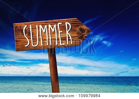 Summer Direction Wooden Sign