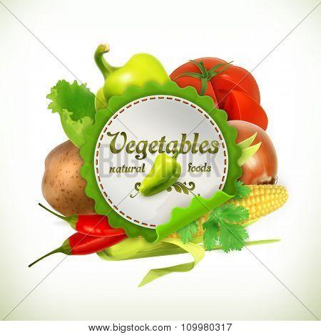 Vegetables, vector label