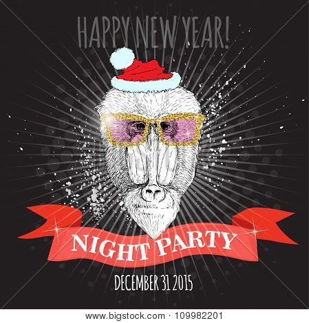 Mandrill monkey Hipster with glitter glasses and Christmas hat.