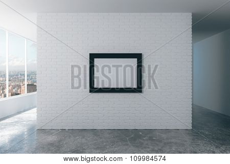 Blank Picture Frame On White Brick Wall In Empty Loft Room, Mock Up