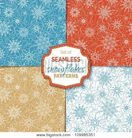 Set Of Seamless Outlined Snowflakes Patterns.