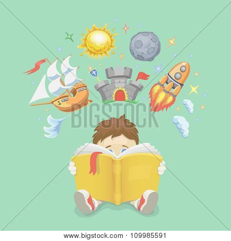 Imagination concept, boy reading a book,  rocket flying out, ship,  castle, planet. vector illustrat