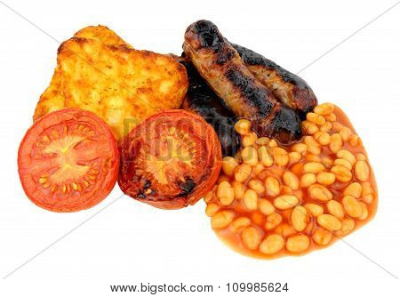 Sausages And Grilled Tomatoes With Hash Browns
