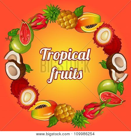Wreath of exotic tropical fruits on bright background