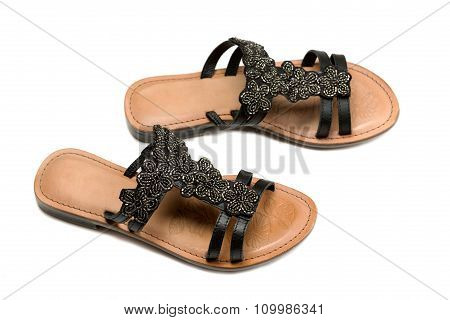 A Pair Of Leather Women's Sandals.