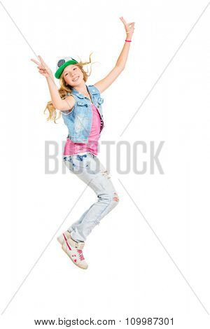 Pretty teenager girl jumping for joy. Studio shot. Isolated over white. Copy space.