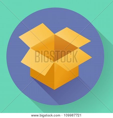 Icon of empty post cargo cardboard box. Flat style