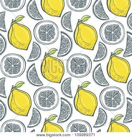 Cute Yellow Lemons Pattern. Vector Handdrawn Seamless Background With Citrus Slice.