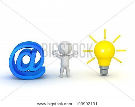 3D Character With At Symbol And Light Bulb