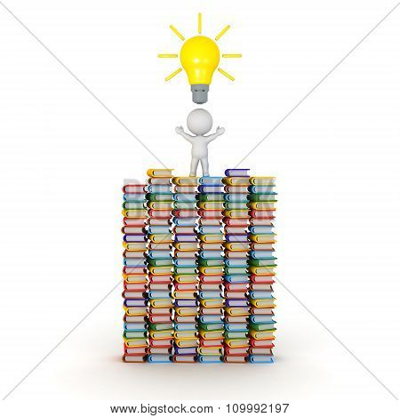 3D Character Standing On Many Colorful Books Has Light Bulb Idea