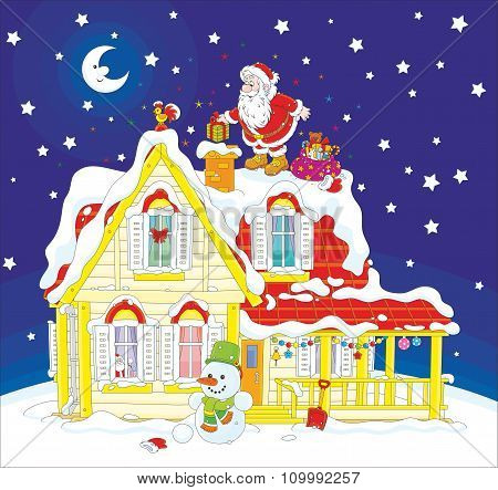 Santa with gifts on a rooftop
