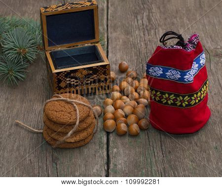 Open Casket, Red Gift Bag, Forest Nutlets And Linking Of Cookies