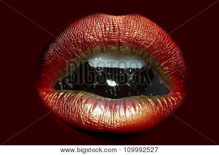 Female Lips With Bubble