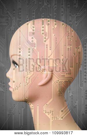 Female Cyborg Head On Dark Gray Background