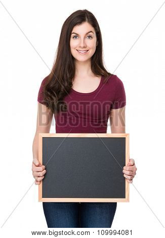 Woman show with the chalkboard
