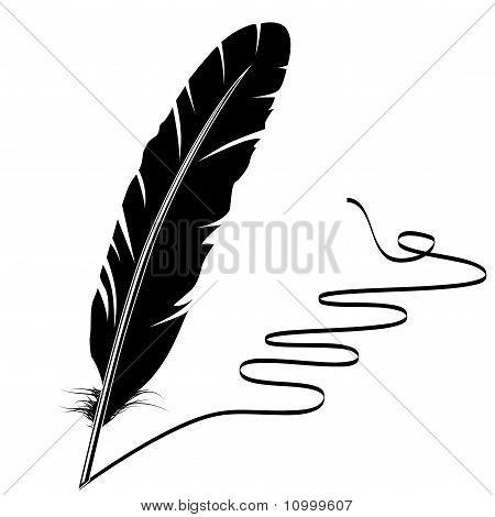 Flourish y pluma en blanco y negro