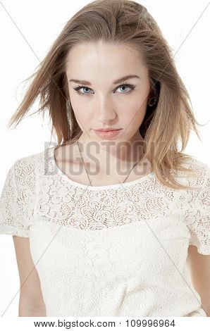 Portrait Of Beautiful Girl in a white dress