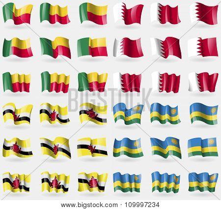 Benin, Bahrain, Brunei, Rwanda. Set Of 36 Flags Of The Countries Of The World.