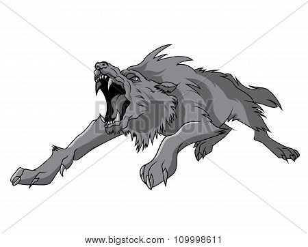 black and white engrave isolated vector wolf