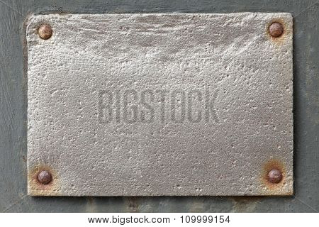 Silver Metal Plate On Grey Background