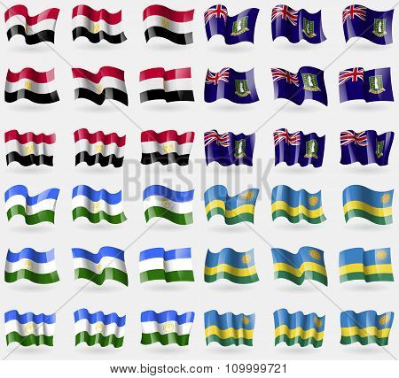 Egypt, Virginislandsuk, Bashkortostan, Rwanda. Set Of 36 Flags Of The Countries