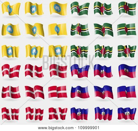 Kalmykia, Dominica, Military Order Malta, Haiti. Set Of 36 Flags Of The Countries Of The World.