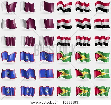 Qatar, Yemen, Guam, Guyana. Set Of 36 Flags Of The Countries Of The World.