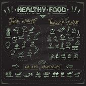 Healthy food chalkboard menu with hand drawn assorted fruits and vegetables chalk graphic symbols co poster