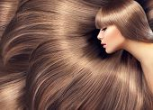 Beautiful Hair. Beauty woman with luxurious long hair as background. Beauty Model girl with Healthy  poster